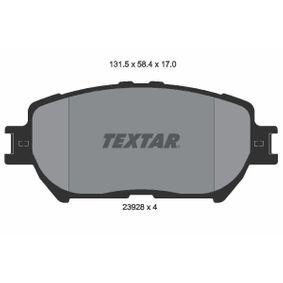 Bremsbelagsatz, Scheibenbremse Breite: 131,5mm, Höhe: 58,4mm, Dicke/Stärke: 17mm mit OEM-Nummer 04465 33250