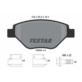 TEXTAR  2393401 Bremsbelagsatz, Scheibenbremse Breite: 123mm, Höhe: 54,3mm, Dicke/Stärke: 18,1mm