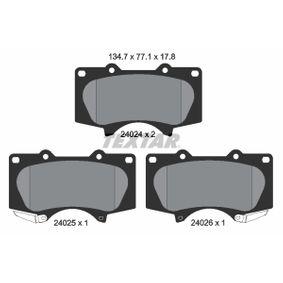 TEXTAR  2402401 Bremsbelagsatz, Scheibenbremse Breite: 134,7mm, Höhe: 77,1mm, Dicke/Stärke: 17,8mm