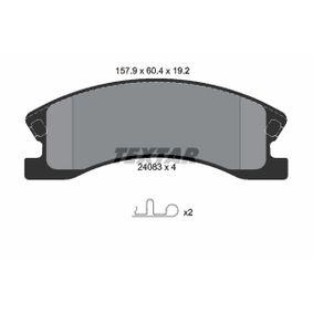 Bremsbelagsatz, Scheibenbremse Breite: 157,9mm, Höhe: 60,4mm, Dicke/Stärke: 19,2mm mit OEM-Nummer 5093 260AA