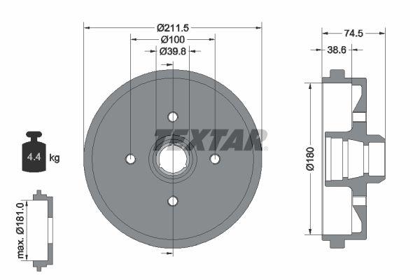 TEXTAR  94006600 Bremstrommel Trommel-Ø: 180mm, Br.Tr.Durchmesser außen: 211,5mm