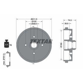 Bremstrommel Trommel-Ø: 180mm, Br.Tr.Durchmesser außen: 211,5mm mit OEM-Nummer 191 501615 B