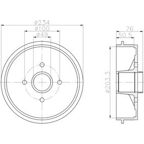 Bremstrommel Trommel-Ø: 203,3mm, Br.Tr.Durchmesser außen: 234mm mit OEM-Nummer 7700 818 346