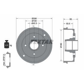 Bremstrommel Trommel-Ø: 180mm, Br.Tr.Durchmesser außen: 208mm mit OEM-Nummer 7700 419 824