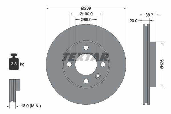 TEXTAR  92012100 Bremsscheibe Bremsscheibendicke: 20mm, Ø: 239mm