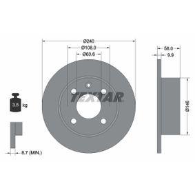 TEXTAR  92023000 Bremsscheibe Bremsscheibendicke: 9,9mm, Ø: 240mm