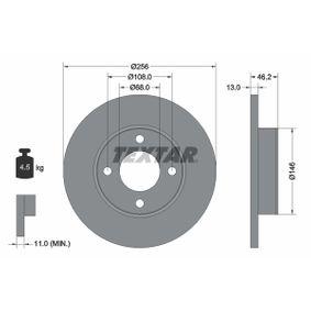 TEXTAR Bremsscheibe 92025900 für AUDI 100 (44, 44Q, C3) 1.8 ab Baujahr 02.1986, 88 PS
