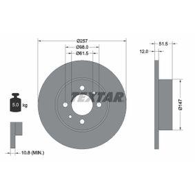 TEXTAR  92027000 Bremsscheibe Bremsscheibendicke: 12,0mm, Ø: 257mm