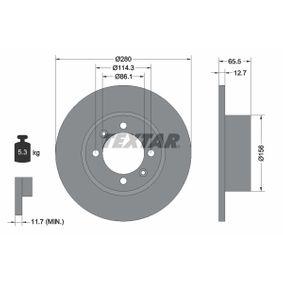 TEXTAR  92027600 Bremsscheibe Bremsscheibendicke: 12,7mm, Ø: 280mm
