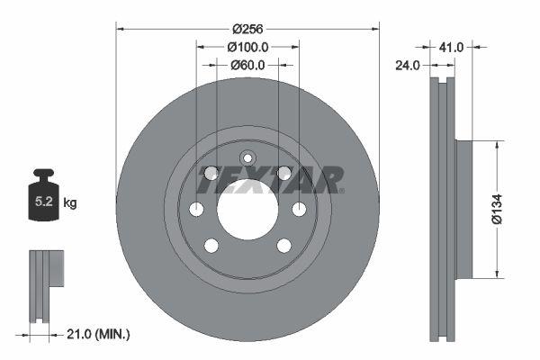TEXTAR  92039200 Bremsscheibe Bremsscheibendicke: 24mm, Ø: 256mm