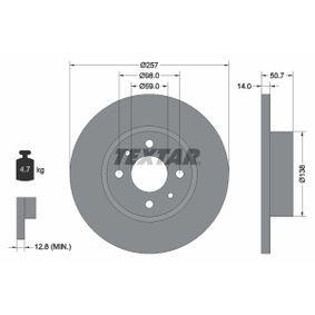 Bremsscheibe Bremsscheibendicke: 14mm, Ø: 257mm mit OEM-Nummer 82 434 169
