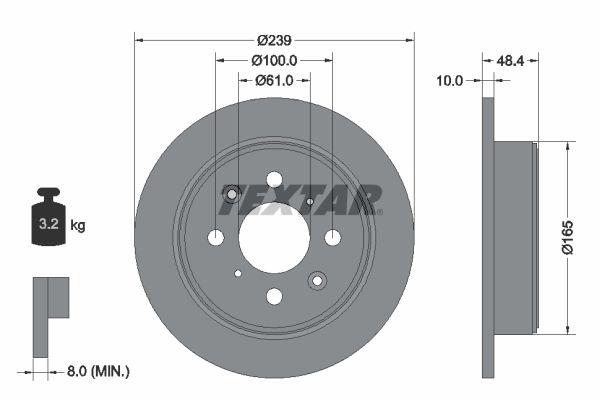 TEXTAR  92060800 Спирачен диск дебелина на спирачния диск: 10мм, Ø: 239мм