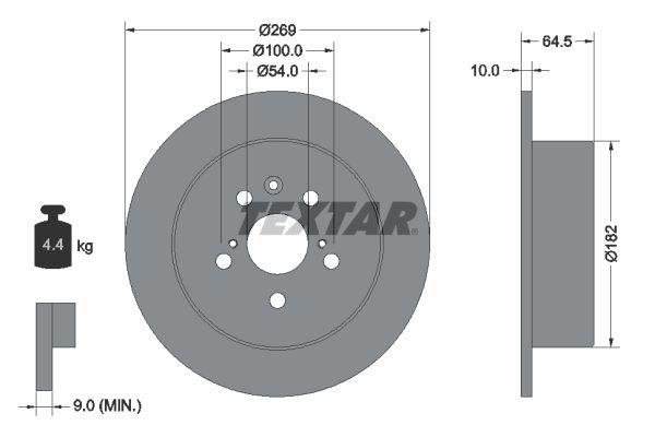 TEXTAR  92070800 Disque de frein Epaisseur du disque de frein: 10mm, Ø: 269mm
