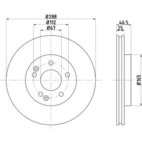 Bremsscheibe Bremsscheibendicke: 25,0mm, Ø: 288mm mit OEM-Nummer A210 421 24 12 64