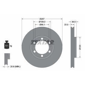 Bremsscheibe Bremsscheibendicke: 22,0mm, Ø: 257mm mit OEM-Nummer 8 94372 435 0