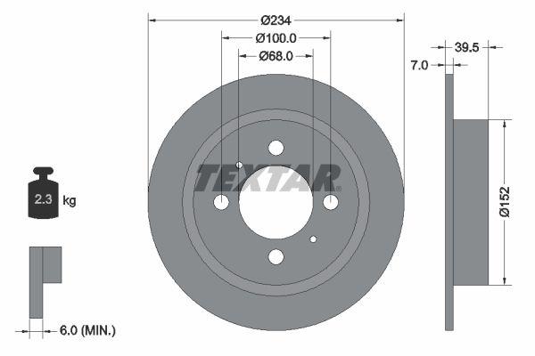 TEXTAR  92080000 Bremsscheibe Bremsscheibendicke: 7mm, Ø: 234mm