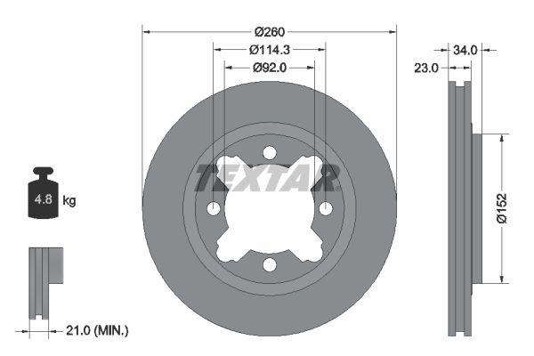 TEXTAR  92081500 Bremsscheibe Bremsscheibendicke: 23mm, Ø: 260mm