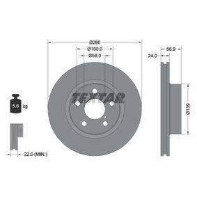 Bremsscheibe Bremsscheibendicke: 24,0mm, Ø: 260mm mit OEM-Nummer 26300AE090