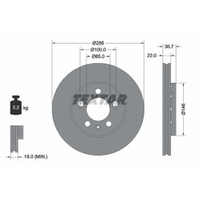 Brake Disc Brake Disc Thickness: 22mm, Ø: 256mm with OEM Number 6QD615301