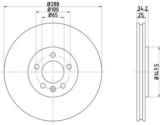 TEXTAR  92082400 Bremsscheibe Bremsscheibendicke: 25mm, Ø: 288mm
