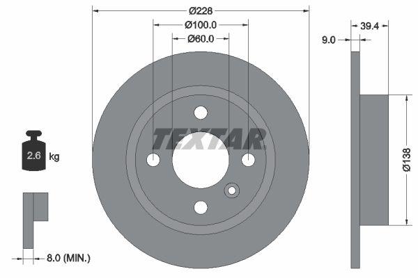 TEXTAR  92082800 Bremsscheibe Bremsscheibendicke: 9mm, Ø: 228mm
