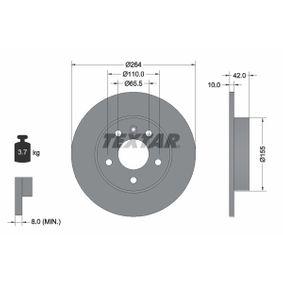 Bremsscheibe Bremsscheibendicke: 10mm, Ø: 264mm mit OEM-Nummer 95526658