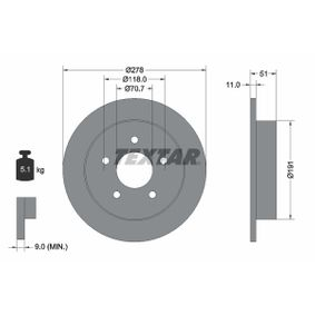 TEXTAR  92099800 Bremsscheibe Bremsscheibendicke: 11,0mm, Ø: 278mm