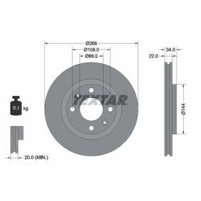 Bremsscheibe Bremsscheibendicke: 22,0mm, Ø: 266mm mit OEM-Nummer 16 188 904 80