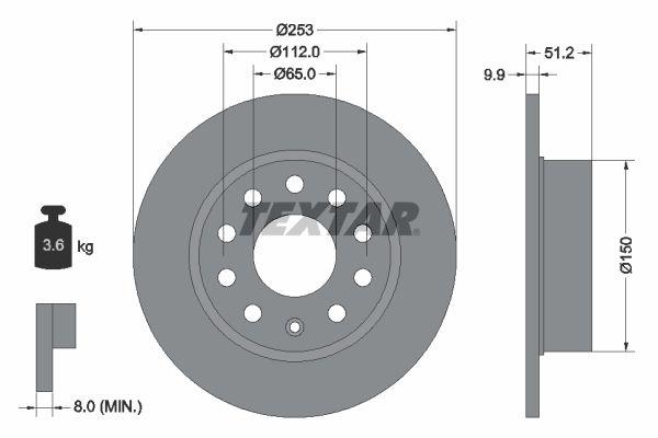 TEXTAR  92120900 Bremsscheibe Bremsscheibendicke: 9,9mm, Ø: 253mm