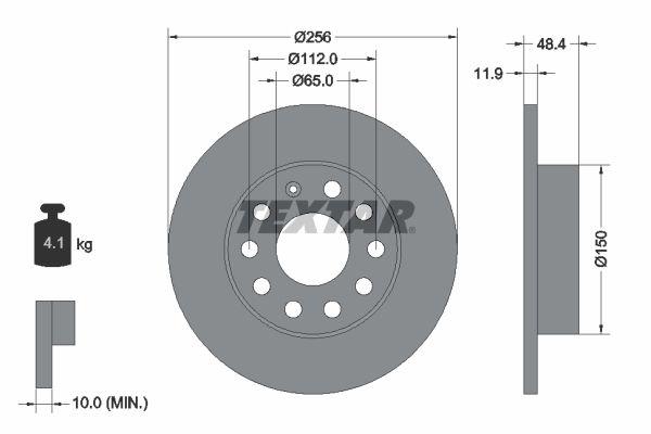 TEXTAR  92121100 Bremsscheibe Bremsscheibendicke: 11,9mm, Ø: 256mm