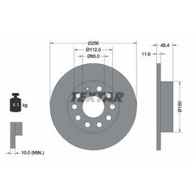 Bremsscheibe Bremsscheibendicke: 11,9mm, Ø: 256mm mit OEM-Nummer 1K0 615 601 AJ