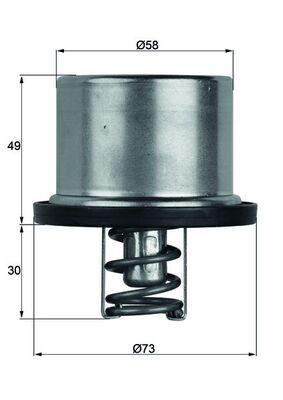 Kühlwasserthermostat TX 37 79 MAHLE ORIGINAL 70809184 in Original Qualität