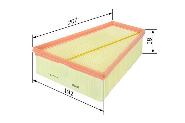 BOSCH  F 026 400 139 Luftfilter Länge: 207mm, Breite: 192mm, Höhe: 58mm, Länge: 207mm