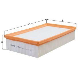 Luftfilter Länge: 175,0mm, Höhe: 62,3mm, Länge über Alles: 290,0mm mit OEM-Nummer 5Q0129620D