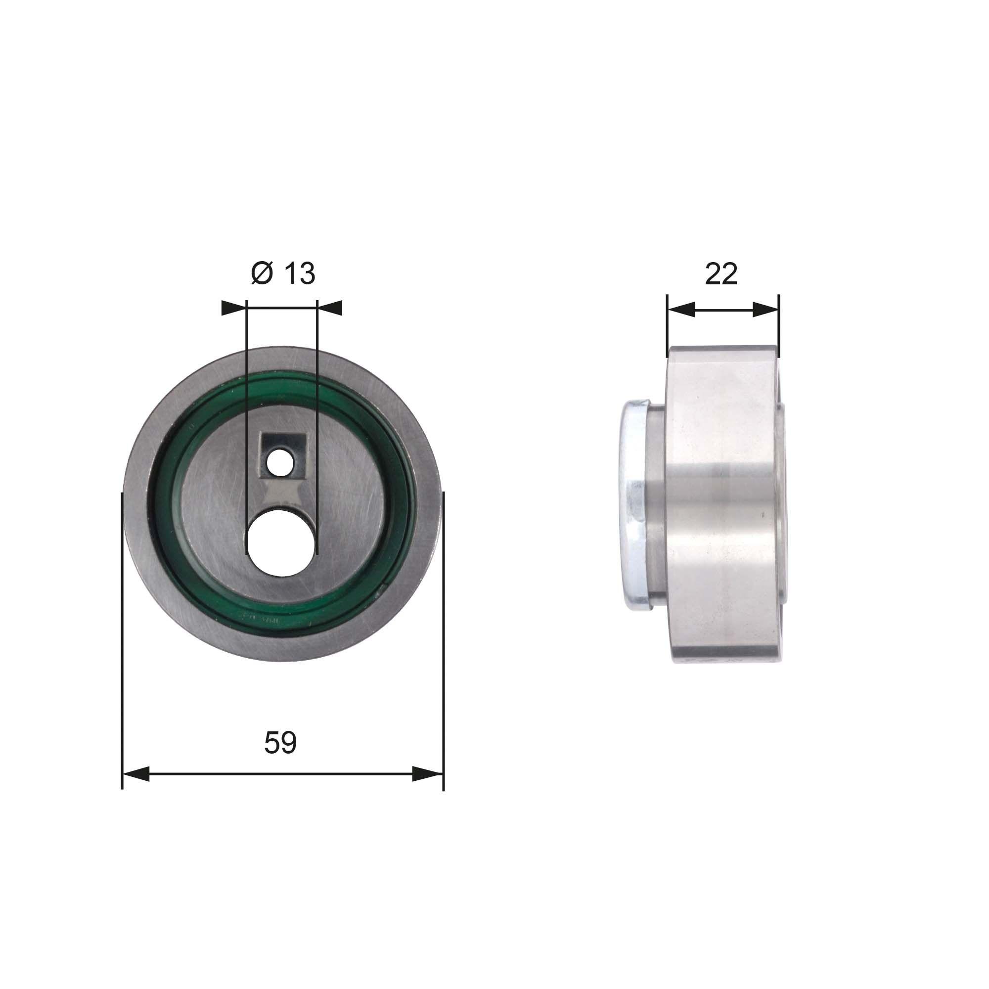 GATES  T41129 Spannrolle, Zahnriemen Ø: 59mm