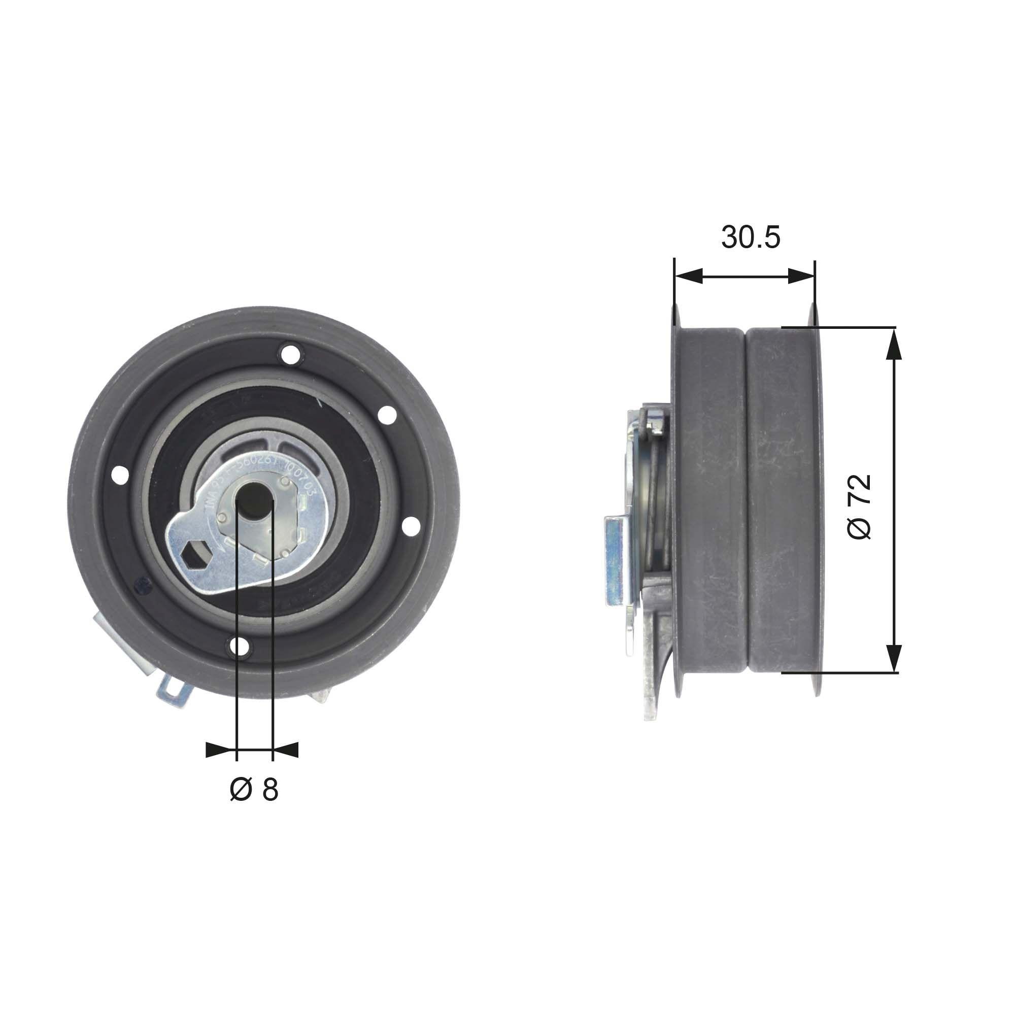 GATES  T43010 Tensioner Pulley, timing belt Ø: 72,5mm