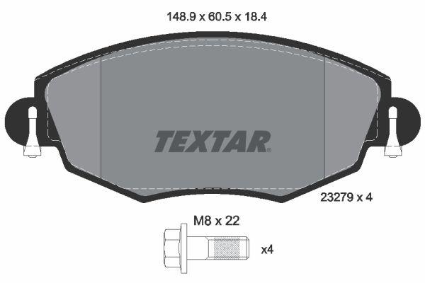 TEXTAR  2327904 Bremsbelagsatz, Scheibenbremse Breite: 148,9mm, Höhe: 60,5mm, Dicke/Stärke: 18,4mm