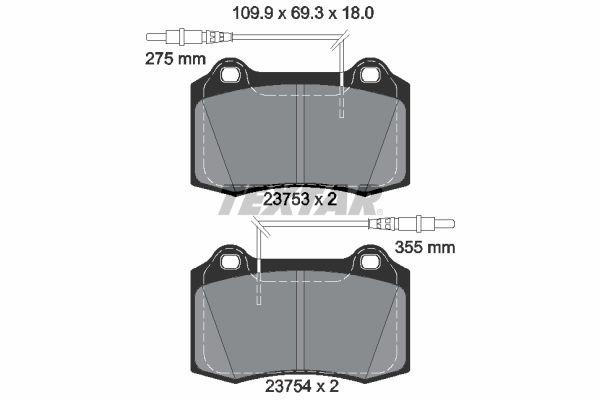 TEXTAR  2375301 Bremsbelagsatz, Scheibenbremse Breite: 109,9mm, Höhe: 69,3mm, Dicke/Stärke: 18mm