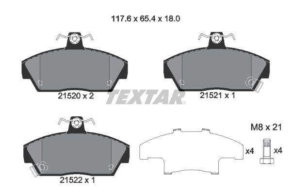 TEXTAR  2152001 Bremsbelagsatz, Scheibenbremse Breite: 117,6mm, Höhe: 65,4mm, Dicke/Stärke: 18mm