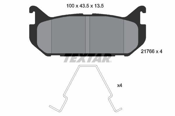 TEXTAR  2176603 Bremsbelagsatz, Scheibenbremse Breite: 100mm, Höhe: 43,5mm, Dicke/Stärke: 14,8mm