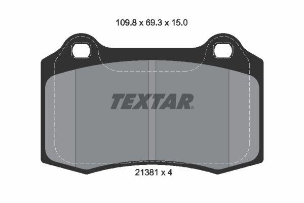 TEXTAR  2138102 Bremsbelagsatz, Scheibenbremse Breite: 109,8mm, Höhe: 69,3mm, Dicke/Stärke: 15mm