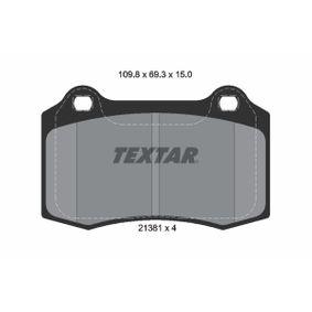 Bremsbelagsatz, Scheibenbremse Breite: 109,8mm, Höhe: 69,3mm, Dicke/Stärke: 15mm mit OEM-Nummer C2C24016