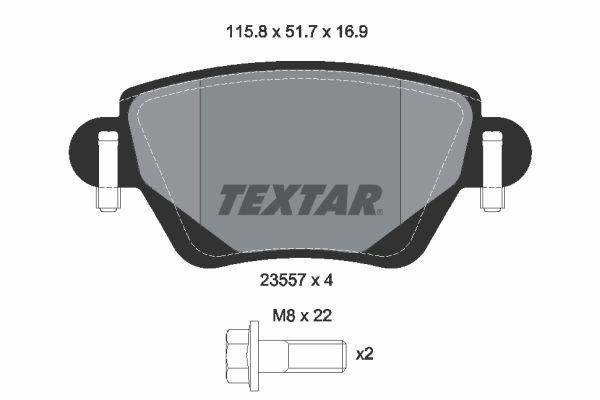TEXTAR  2355702 Bremsbelagsatz, Scheibenbremse Breite: 115,8mm, Höhe: 51,7mm, Dicke/Stärke: 16,9mm