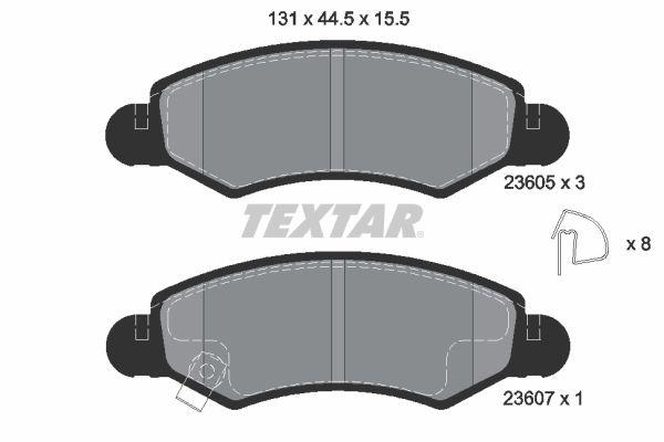 TEXTAR  2360501 Bremsbelagsatz, Scheibenbremse Breite: 131mm, Höhe: 44,5mm, Dicke/Stärke: 15,5mm