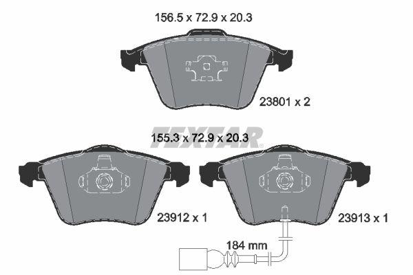 TEXTAR  2380101 Bremsbelagsatz, Scheibenbremse Breite 1: 156,5mm, Breite 2: 155,3mm, Höhe: 72,9mm, Dicke/Stärke: 20,3mm