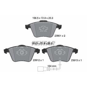 Bremsbelagsatz, Scheibenbremse Breite 1: 156,5mm, Breite 2: 155,3mm, Höhe: 72,9mm, Dicke/Stärke: 20,3mm mit OEM-Nummer 1K0.698.151B
