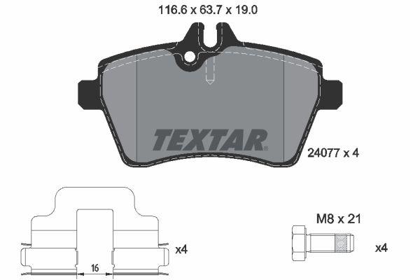 TEXTAR  2407701 Bremsbelagsatz, Scheibenbremse Breite: 116,6mm, Höhe: 63,7mm, Dicke/Stärke: 19mm
