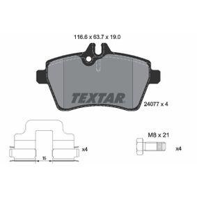 Bremsbelagsatz, Scheibenbremse Breite: 116,6mm, Höhe: 63,7mm, Dicke/Stärke: 19mm mit OEM-Nummer 169 420 1020