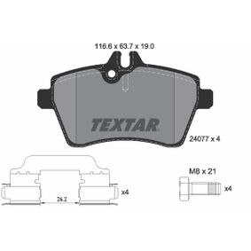 Brake Pad Set, disc brake Width: 116,6mm, Height: 63,7mm, Thickness: 19mm with OEM Number 169 420 1320