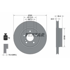 Bremsscheibe Bremsscheibendicke: 22,0mm, Ø: 300mm mit OEM-Nummer 210 423 08 12